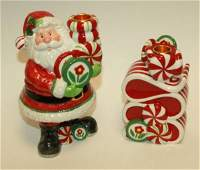 """451: Two Fitz & Floyd """"Peppermint Santa"""" Candle Holders"""