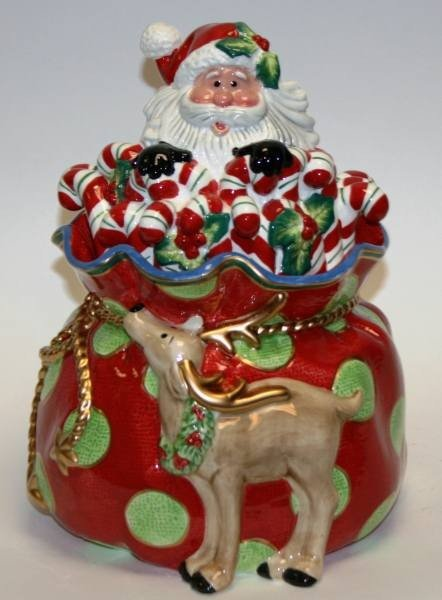 "465: Fitz & Floyd ""Kringle"" Cookie Jar, New in Box"