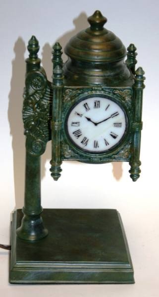 "467: Quoizel ""State Street Tiffany Clock"" Accent Lamp,"