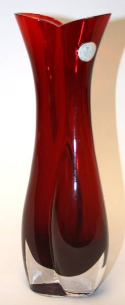 "473: Crystal Clear 24% Lead Crystal Vase, Red, 10 1/2"","