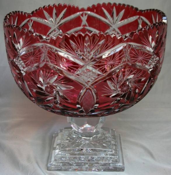 """589: Crystal Classics """"Elizabeth"""" Red Crystal Compote,"""