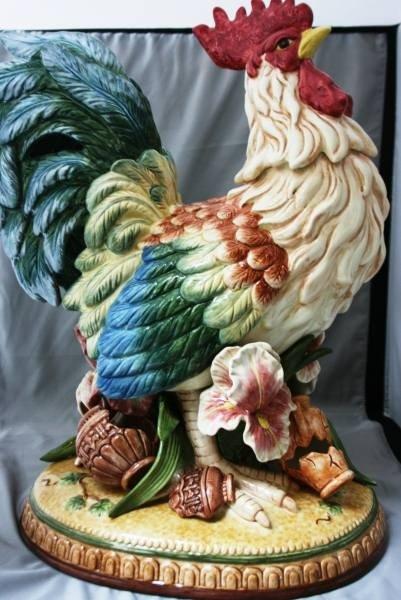 "681: Fitz & Floyd ""Mediterraneo"" Rooster Figurine, New"
