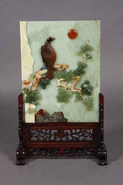 2: Tablet Screen, Carved Green Jade & Hard Stone