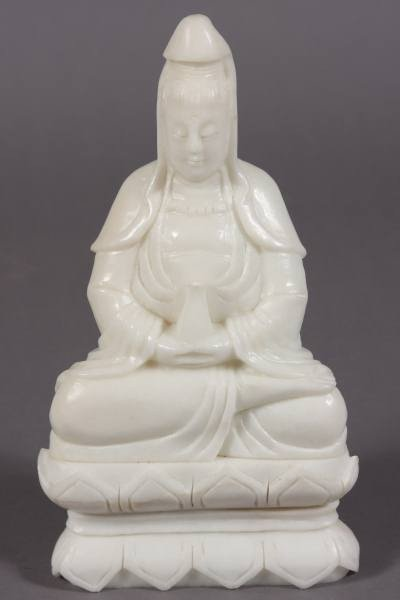3: Seated Quan Yin, White Soapstone, Chinese