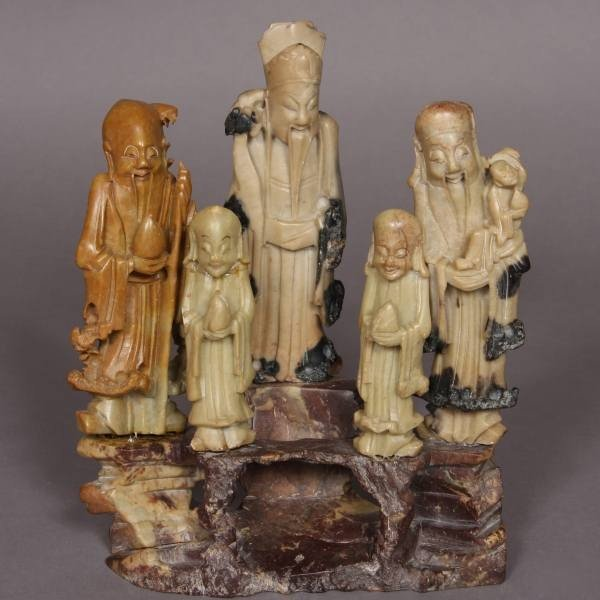 4: Carved Soapstone Figural Group, Chinese, 20th C.