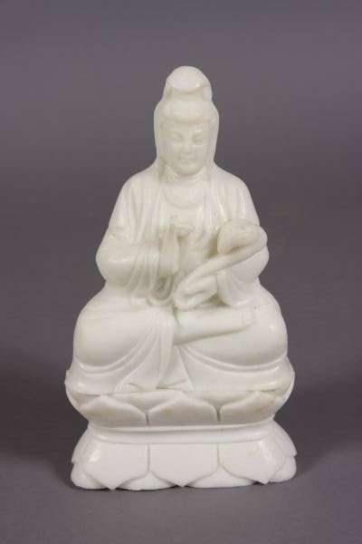 5: Seated Quan Yin, White Soapstone, Chinese, 20th C.