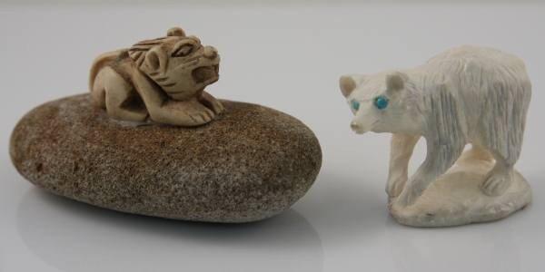 11: Carved Ivory Bear Cub With a Faux Ivory Foo Dog