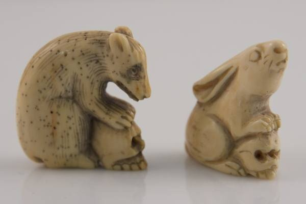 13: Two Carved Ivory Netsuke, a Rabbit and a Bear