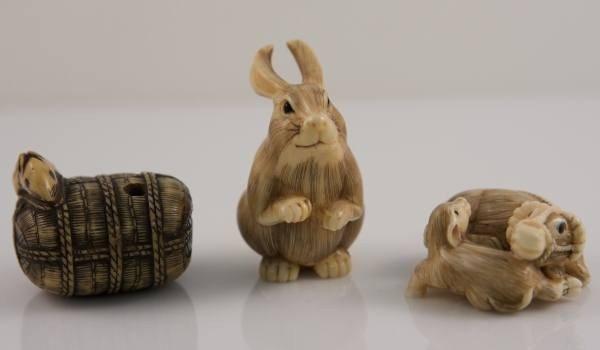15: 3 Faux Ivory Netsuke: Rabbit, Water Buffalo, Mouse