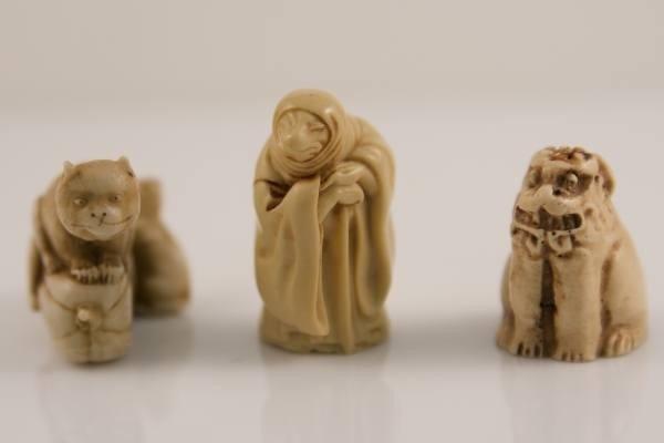 16: Three Faux Ivory Netsuke, Japanese, 20th Century