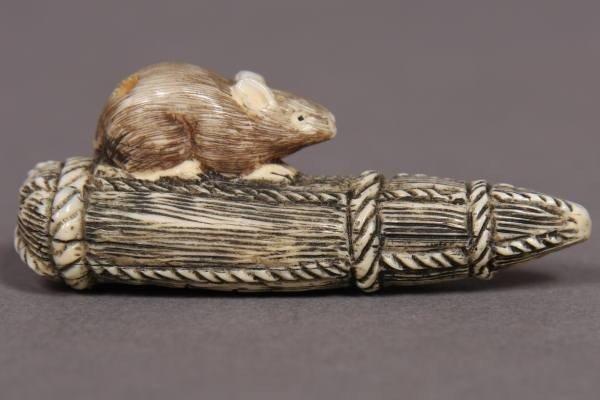 20: Carved Ivory Netsuke of a Mouse On A Bail, Japanese