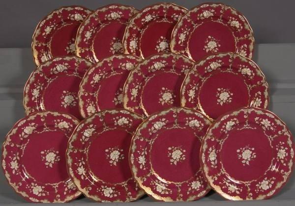 296: Set of Twelve Gilt & Claret Spode Luncheon Plates
