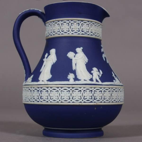 Wedgwood Blue Jasperware Pitcher, English, 20th Century