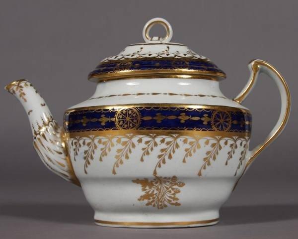 Worcester Porcelain Cobalt and Gilt Teapot, 19th C.
