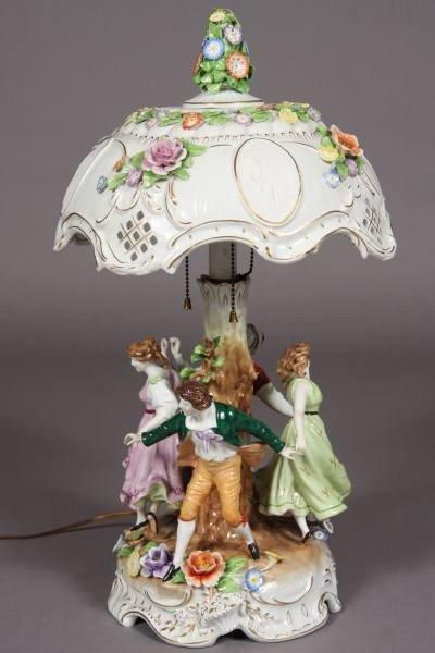 Porcelain Figural Table Lamp, German, 20th Century