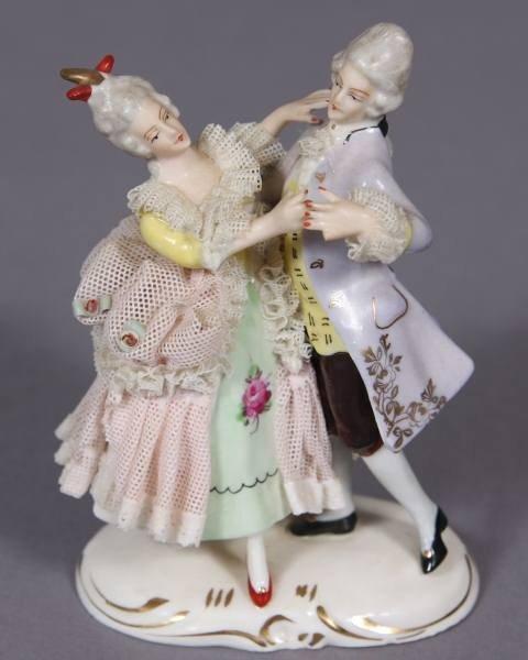 Porcelain Crinoline Figural Group of a Dancing Couple