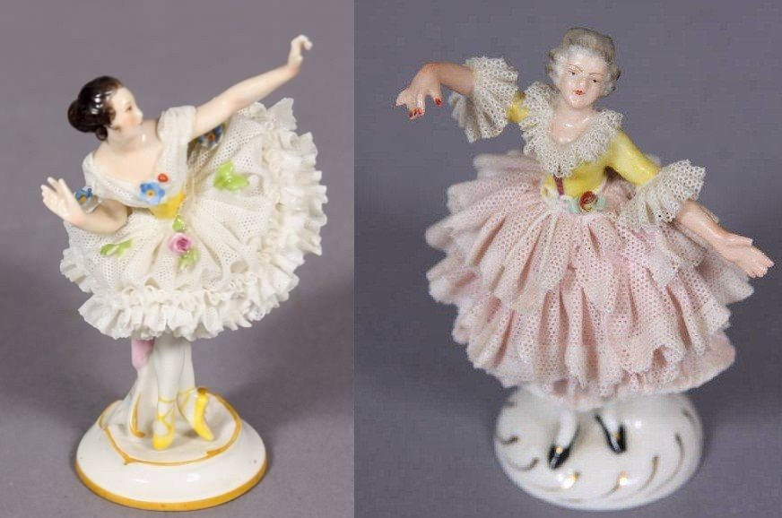 Two Porcelain Crinoline Figures of Ballerinas, 20th C.