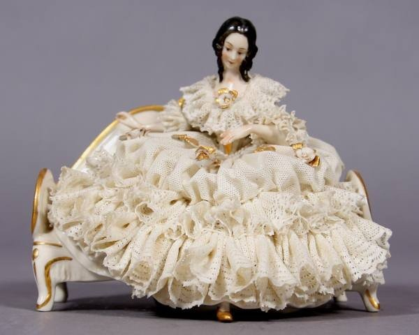 Porcelain Crinoline Maiden Seated on A Settee