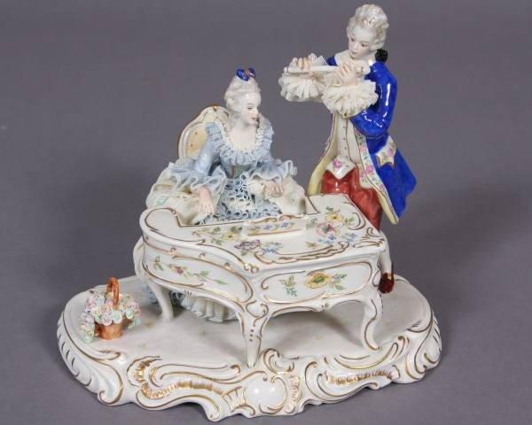 Porcelain Crinoline Figural Group of Musicians