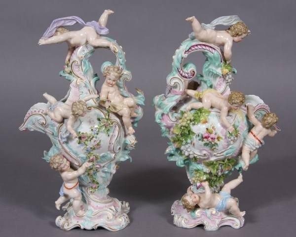 Pair Meissen Porcelain Figural Ewers, German, 20th C.