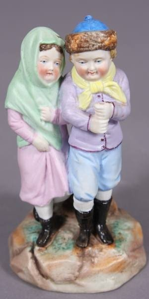 Bisque Porcelain Figure of Two Children, Early 20th C.