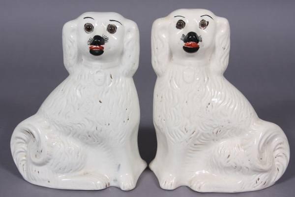 Pair Staffordshire Pottery Spaniels, English, E.20th C.