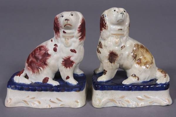 Two Staffordshire Pottery Spaniels, English, L. 19th C.