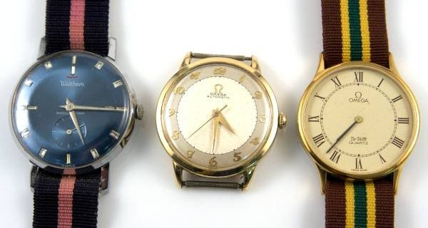 Three Vintage Watches, Two Omega & One Waltham