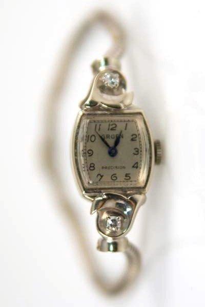 Ladies Gruen Watch, 14K White Gold with Diamonds