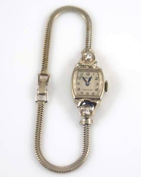 Ladies Gruen Watch, 14K White Gold with Diamonds - 2