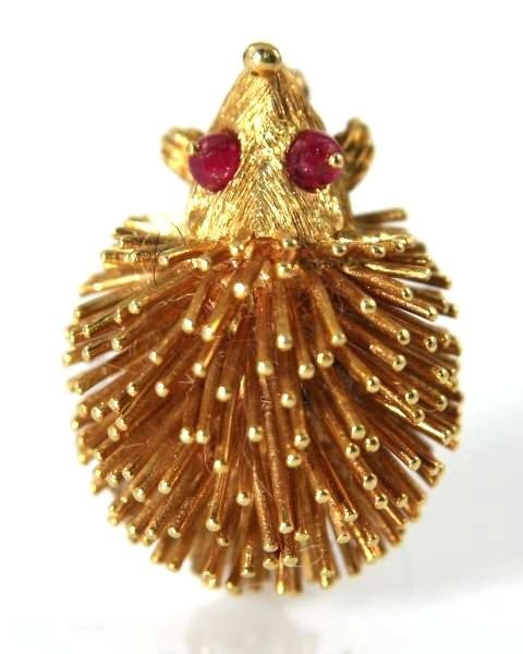 14K Yellow Gold Hedgehog Pin with Ruby Eyes