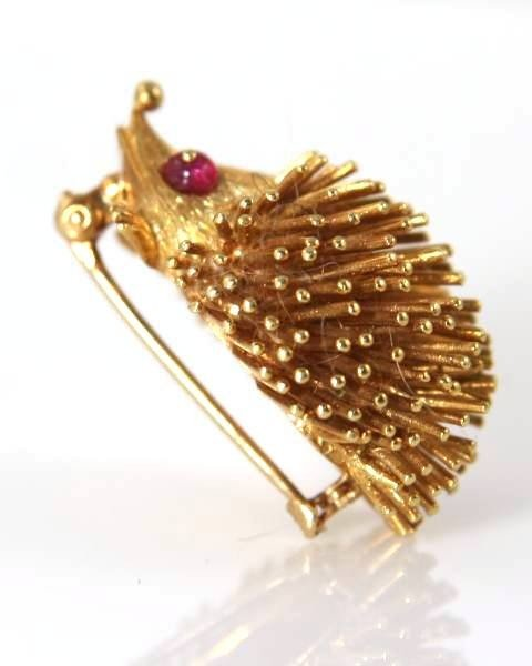 14K Yellow Gold Hedgehog Pin with Ruby Eyes - 2