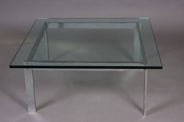 Knoll Style Chrome and Glass Cocktail Table, 20th C.