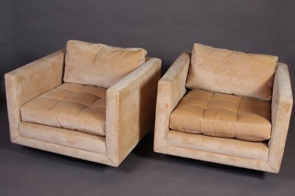 Pair of Mid-Century Upholstered Tub Chairs, 20th C.
