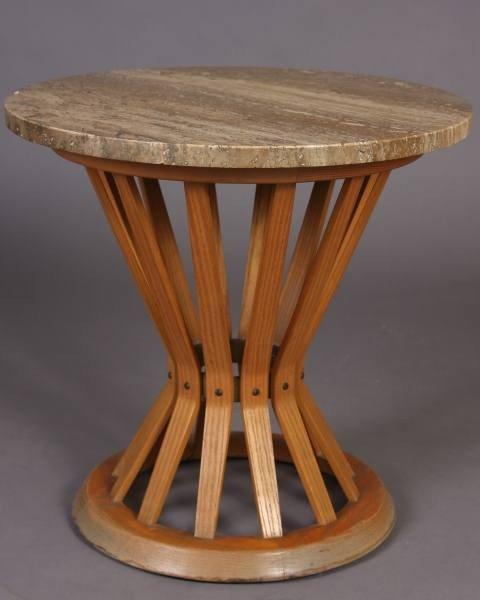 Dunbar Walnut and Travertine Top Side Table, 20th C.