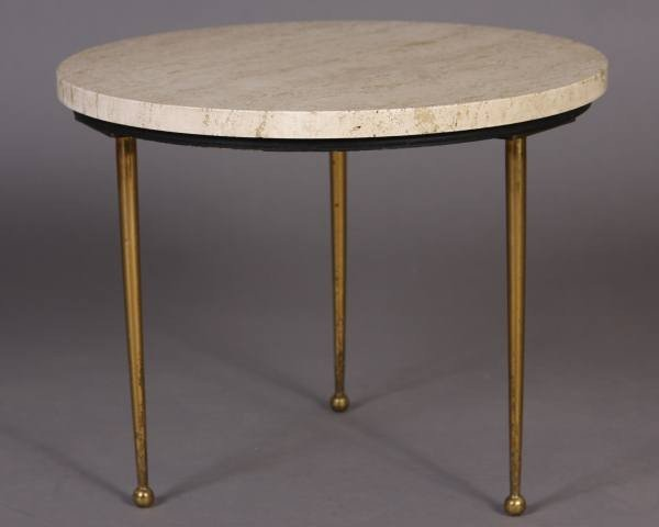 Mid-Century Metal and Travertine Side Table, 20th C.