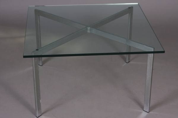 """Chrome and Glass """"Barcelona"""" Style Side Table"""