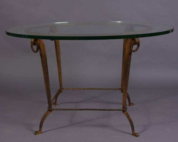 Contemporary Gilt Metal and Glass Top Center Table