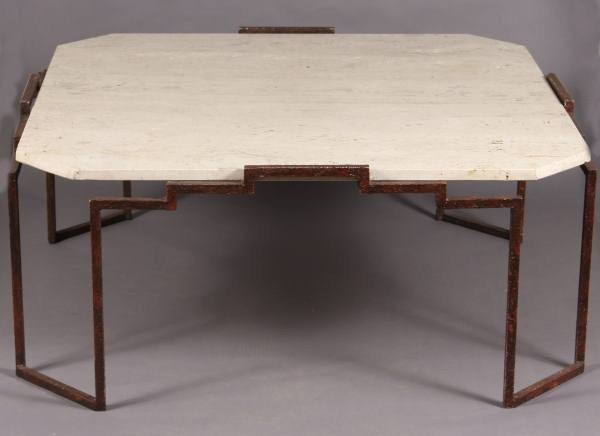 Mid-Century Patinated Metal & Travertine Cocktail Table