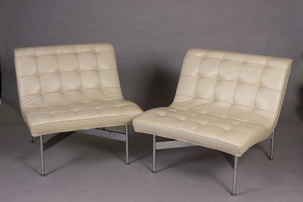 Mid-Century Aluminum & Cream Leather Upholstered Chairs