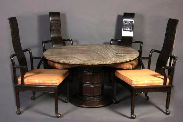 Widdicomb Travertine Dining Table With 4 Chairs