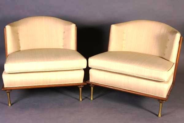 Pair Mid-Century Birch And Upholstered Tub Back Chairs