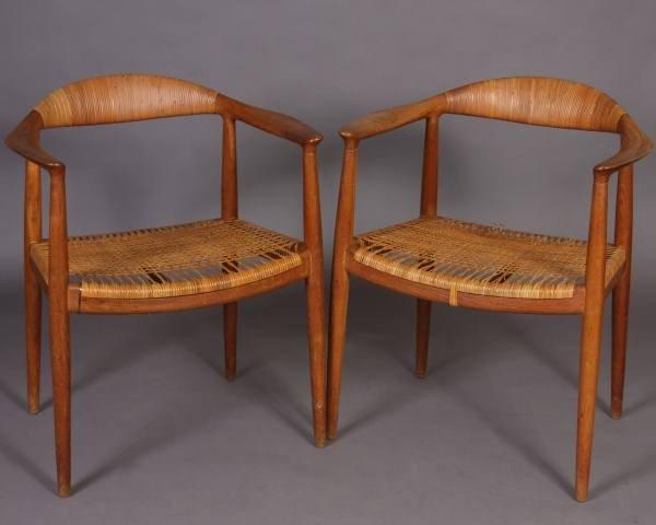 """Pair Hans Wegner Oak """"The Round"""" Chairs, Danish"""