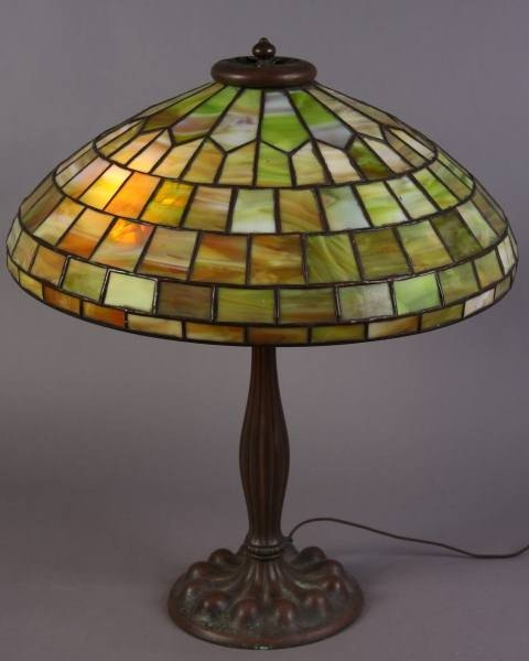 Arts and Crafts Bronze and Leaded Glass Table Lamp