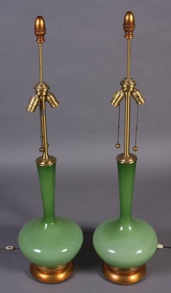 Pair Marbro Green Glass Table Lamps