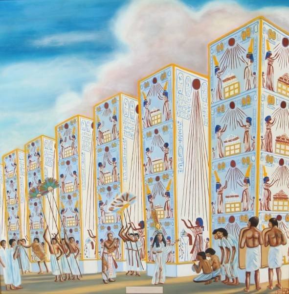 "Frazier, ""Nefertiti Visiting the Courtyard"", Oil"