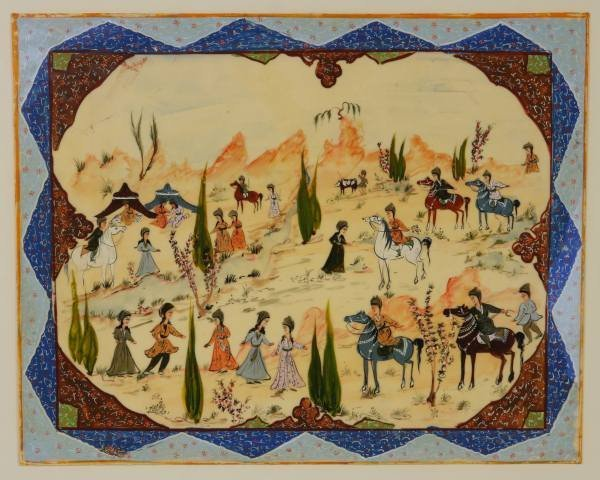 Middle Eastern Painted Panel, 20th Century