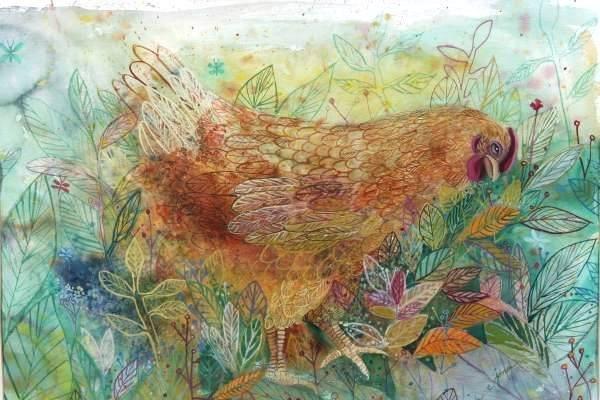 """Joan C. Jones (20th Century), """"Chicken In Garden"""""""