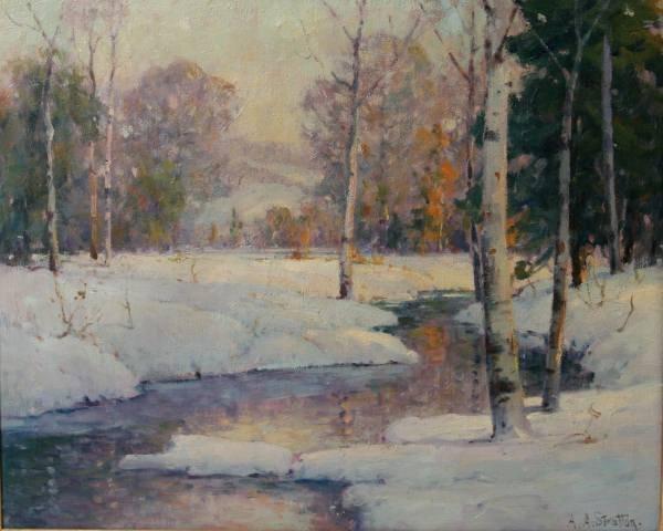 A.A. Stratton (American, 20th C.) Winter Landscape