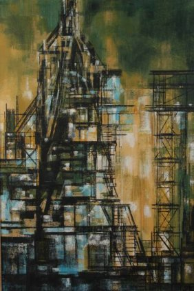 "Richard Florsheim, ""Cityscape"", Oil"